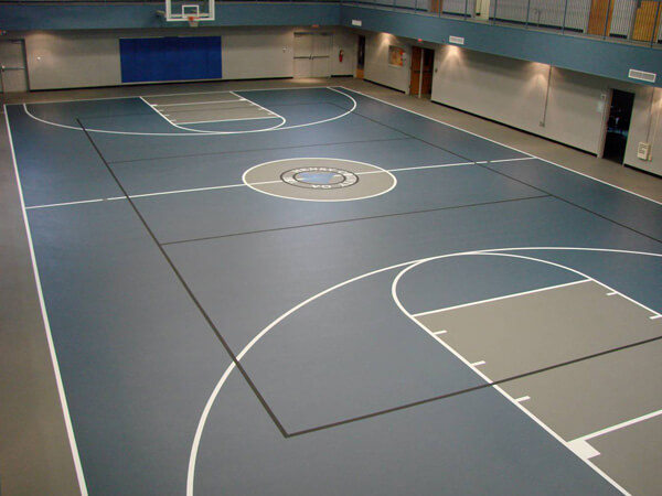 Tennis court resurfacing before after track surfaces for Indoor basketball court installation
